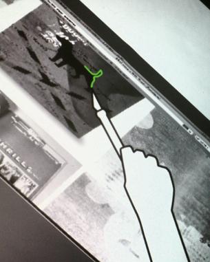 Ann-Catrin Wellhöfer | table.work   Das Grundkonzept meines Projektes ist eine Erweiterung zum aktuellen Bildschirmfoto von MAC. Durch drücken eines Schalters an einem Infrarot-Cutter aktiviere ich Bildschirmfoto auf der Oberfläche des Interactiv Table. Anschließend kann ich eine genaue Schnittlinie um einen Bereich ziehen. Die Schnittlinie ist transformier- und korrigierbar. Durch Bestätigen der Schnittlinie über einen Button wird der Bildausschnitt und die Schnittlinie in einem Archiv gespeichert. Ein interaktiver Stempel ist mit diesem Archiv verbunden und kann zum duplizieren der Daten genutzt werden.