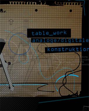 Norman Habelmann | table.work  Das Projekt table_work: analog digital konstruieren versucht, intuitiv analoges Zeichnen/Konstruieren auf ein digitales Medium zu übertragen. Das bedeutet, Zeichen- und Konstruktionswerkzeuge wie Stift, Lineal und Zirkel finden direkte Anwendung auf einem interaktiven Tisch. Durch die intuitive Benutzung dieser Werkzeuge ist ein kontextfreies Arbeiten möglich. Durch die geschaffene Benutzeroberfläche am interactive table findet keine Personalisierung des Arbeitsplatzes statt, somit können gleichzeitig mehrere Personen an einem Projekt arbeiten.