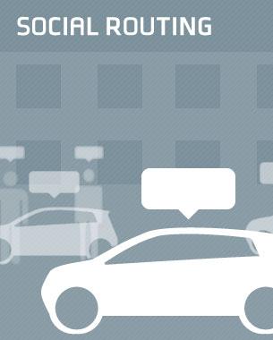 Raphael Okon u. Jan Schröter   Autocontrol 3D  Social Media ist im Automobil angekommen – und wird in unserem Konzept Social Routing um die Eigenschaften der Mobilität, Individualisierung und Augemented Reality erweitert. Anhand von sozialen Profilen werden in die Umgebung kontextsensitive Informationen eingeblendet und ermöglichen eine vereinfachte Kommunikation.