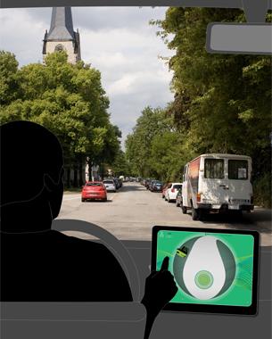 Christa Friedrich u. Daniel Frank   Autocontrol 3D  Das Hauptaugenmerk beim Autofahren ist es, schnell zum gewünschten Ziel zu kommen. Es wird ein hoher Forschungsaufwand betrieben, um das Fahren einfacher, schneller und sicherer zu machen. Wir haben uns hingegen ein System ausgedacht, daß sich mit den Emotionen des Fahrers beschäftigt. Streckenpunkte können stimmungsbasiert markiert und mit anderen geteilt werden. Dies ermöglicht ein Routing, das die Gemütslage der Fahrzeuginsassen beeinflussen kann. Ergänzend dazu, wird die Stimmung visualisiert und die passende Musik aus dem Internet gestreamt.