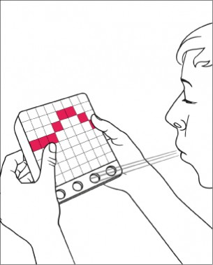 Susann Schulz | Software and Hardware Sketching  Pusten bis die Luft weg bleibt! Das Pixelspiel BLOW UP beschreibt Wanderne Lichtpixel, die durch gezieltes Pusten aufgehalten  werden müssen, ehe sie die vorderste Reihe der Matrix berühren. Je länger die Pixel aufgehalten werden können, desto mehr Punkte erhält der Spieler.  Wer schafft es den Highscore zu knacken?!