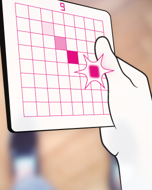 Adrian Wendt   Software and Hardware Sketching  Um STUFE9 zu meistern, erfordert es Konzentration, Geschick und Eile. Ein Lagesensor erfasst die Neigung des Spielbrettes und überträgt sie auf einen Punkt auf dem aus LEDs gelöteten Display. Mit diesem muss ein anderer, fester Punkt gefangen werden. Je höher die Stufe, desto weniger Zeit steht zur Verfügung. Läuft sie aus, steigt man ein Level ab - Eine Herausforderung, die es zu meistern gilt!