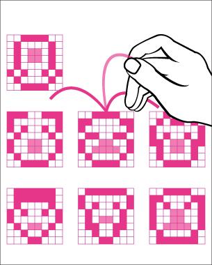 Isabelle E. Schacht | Software and Hardware Sketching  Gesichter haben viele Aspekte. Sie auf das wesentliche zu reduzieren ist Grundlage von Karikaturen und Comics. Eine weitere Herausforderung bedeutet die Reduktion auf eine 8x8 LED-Matrix.  Mein spannendes Experiment ermöglicht, aus individuellen Gesichtszügen immer wieder neue Gesichter entstehen zu lassen. Hier können Kopfform, Augenform und- position sowie die Mundpartie separat ausgesucht und somit kombiniert werden.
