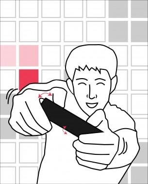 Claudia Grothe   Software and Hardware Sketching  Hierbei handelt es sich um ein Geschicklichkeitsspiel, bei dem der Benutzer mittels Lagesensorik über die Richtung der zu bewegenden LED entscheiden kann. Zusätzlich muss er einer auf sich zukommenden Welt schnellstmöglich ausweichen. Trifft er diese, ist das Spiel vorbei.   Der Gewinner ist am Ende der jenige, der mittels Reaktionsvermögen und Schnelligkeit, am längsten durchhält!