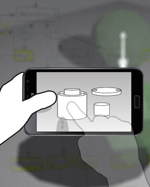 Johanna Mathieu | Master Thesis  Seit einigen Jahren sind Multitouch-Displays zu beliebten und weit verbreiteten Interfaces geworden, und durch die steigende Leistung von mobilen Geräten wurde die Darstellung von 3D-Inhalten in Echtzeit auf Smartphones und Tablet-PCs ermöglicht. In meiner Masterthesis, die in Kooperation mit der Firma LIVINGSOLIDS entstanden ist, wurden bestehende Gesten analysiert und für die Verwendung mit 3D-Inhalten untersucht. Neben kleinen Prototypen und einer Animation ist unter anderem eine Systematik für die Bezeichnung von Multitouch-Gesten entwickelt worden.