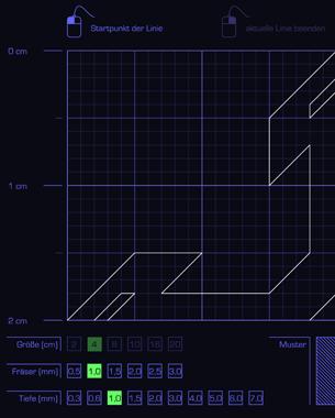 Patrick Voglau | Digital-Analog Surface  Der Mustergenerator ermöglicht es dem User, eine Sternenform zu zeichnen und diese anschließend als Fräscode auszugeben. Die Zeichenfläche wird in vier Quadranten unterteilt. Gezeichnet wird im ersten Quadranten. Das Programm errechnet durch Rotation und Spiegelung automatisch die verbleibenden drei Quadranten. Attribute wie z.B. Objektgröße, Fräsergröße und -tiefe können zu Beginn festgelegt werden. Zusätzlich kann man aus drei verschiedenen Oberflächenmustern wählen, die in einem zweiten Fräsvorgang eingearbeitet werden.