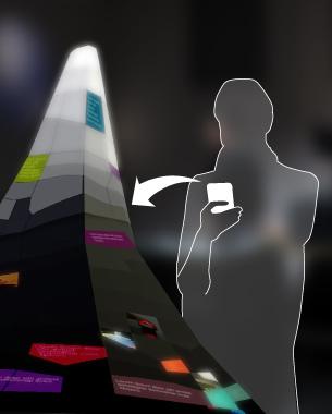 // Benjamin Hatscher | M.A. 3. Semester  Kann eine Veranstaltung ihr eigenes digitales Abbild erzeugen? Ein skulpturales Objekt am Ort des Geschehens nimmt digitale Texte, Bilder und Videos entgegen. Diese Informationen werden visualisiert und durch Algorithmen oder Besucher strukturiert. Für Außenstehende formt sich dadurch ein facettenreiches Bild des Events, dessen Verlauf auch nach Ende der Veranstaltung zeitlich sortiert nachverfolgt und nacherlebt werden kann.