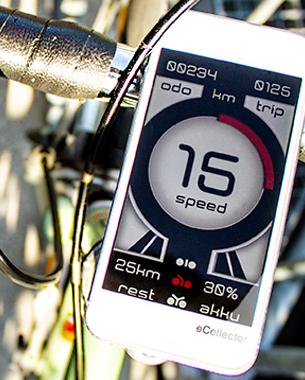 // eCollector ist ein Display zur Darstellung von Daten und zur Steuerung eines E-Bikes. Hierbei werden die gefahrene Geschwindigkeit (speed), die Tageskilometer (trip), die gefahrenen Gesamtkilometer (odo), sowie die Akkumulatorladung und die Restreichweite dargestellt. Drei verschiedene Fahrstufen sind interaktiv durch eine Hardwaresteuerung am Lenker auswählbar. Die bevorzugte Darstellung stellt einen abstrakten Blick in ein Elektromotorgehäuse im Querschnitt dar. Gute Lesbarkeit bei schneller Fahrweise und semantische Grundlagen bilden hierbei die Ausgangswerte.  // Daniel Forejt // BA 6. Semester ID