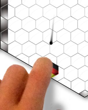 // Dieses Single-/ und Multiplayergame ist eine Mischung aus zwei Kultgames Arkanoid und Airhockey. Die Spielfläche ist ein sechseckiger Screen, an dessen Seiten bis zu sechs Spieler ihre Bude sauber halten müssen.  // Florian Woeste  // BA 3. Semester ID