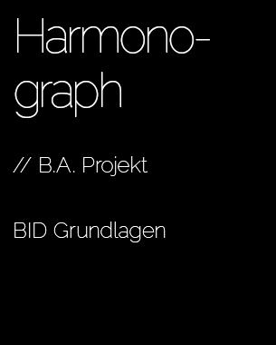 // Ein Harmonograph übersetzt zwei überlagerte harmonische Schwingungen in eine Grafik. Die von den Studierenden realisierten mechatronischen Systeme zeichnen sich überlagernde harmonische Schwingungen auf Papier. Mittels Eingaben können die harmonischen Schwingungen und die daraus resultierenden Grafiken beeinflusst werden. Dem Nutzer eröffnet sich ein Möglichkeitsraum in dem er gestalterisch in den Prozess der Fertigung eingreifen kann.   BID Grundlagen  // Vertr. Prof. Dominik Schumacher