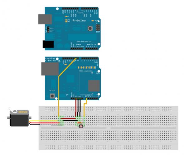 Schaltplan mit Arduino, Ethernet-Board, Servo und Photo-Sensor